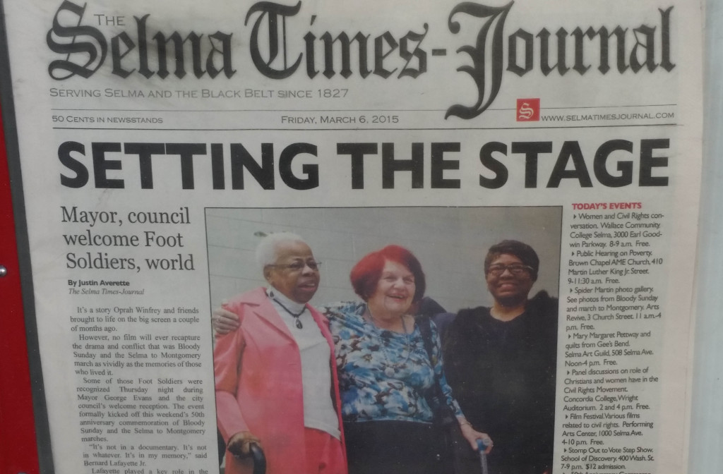 Unlike Birmingham, Huntsville and Mobile, little Selma still has a daily newspaper.  The newspaper's editor made a courageous decision in the wake of the Bloody Sunday violence to begin telling the truth about what was happening there.
